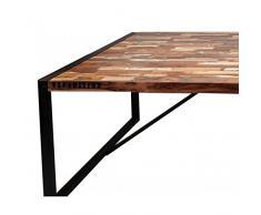 Indhouse-Table de salle à manger en fer forgé et bois recyclées