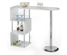 Table haute de bar mange-debout comptoir VIGANDO 3 tablettes MDF décor blanc