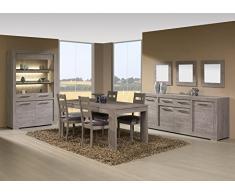 Matelpro-Salle à manger complète contemporaine coloris cottage oak Tania-Table 190 cm