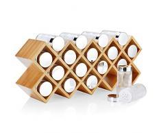Harcas Étagère à épices en bambou avec 18 pots à épices et étiquettes Grande étagère à épices sur pied mesurant 43 cm x 9,5 cm x 18 cm. Bocaux en verre avec couvercles chromés et étiquettes à épices.