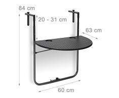 Relaxdays Table de balcon pliante pliable appoint table suspendue rabattable BASTIAN rotin hauteur réglable l x P: 60 x 40 cm, noir