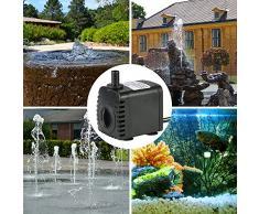 Hylotele Pompe Submersible, Pompe à Eau Submersible 600L / H 8W pour Les Fontaines de Table Aquarium Pond Water Gardens et Hydroponic Systems avec 2 Buses
