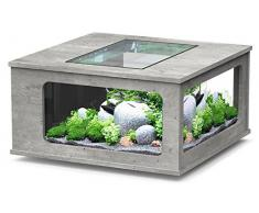 Aquarium table LED 100X100 cm béton ciré