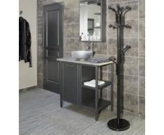 Porte manteaux perroquet sur pied design 10 têtes pour entrée ou vestiaire en métal laqué noir, STANDAR