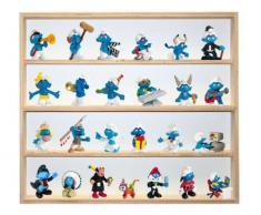 V31 - Vitrine murale 60 cm x 52 cm x 6 cm collection miniature collecteur tableau d'affichage train pion petit objet jouet enfant mini nain de jardin schtroumpf vitres en plexiglas clair meuble rangement étagère armoire placard