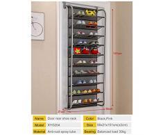 Étagère à chaussures arrière porte 10 couches armoire à chaussures murale simple étagère de rangement en maille respirante meubles de salon (Color : Black)