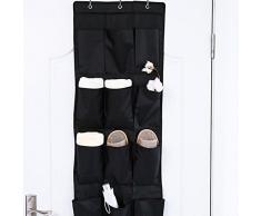 Zyurong® Sac Etagère de Rangement à 12 Poches Suspendu 3 Crochets en métal pour Chaussures Chaussettes Jouets (Noir)