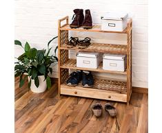 Relaxdays Étagère à chaussures Armoire à souliers Rangement couloir Entrée 4 niveaux Bois de noyer HlP 81 x 70 x 27 cm avec poignées de transport
