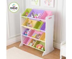 KidKraft 15450 Etagère de rangement, chambre enfant, meuble incluant 12 casiers en plastique interchangeables - couleurs pastels et coloris blanc