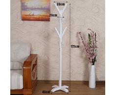 LXLA- Branche arbre porte-manteau Râteau cintre Ranger cintre-debout vêtements Stand amovible en bois massif étagère blanc chambre étude salon 172 × 43cm