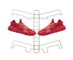 mDesign rangement chaussures – étagère chaussure murale ajustable pour trois paires de baskets, chaussures de sport, etc. – gain despace part rapport à une armoire chaussures – argenté mat
