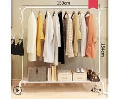 lililili Vêtements Vêtements Rack Heavy Duty qualité Commerciale Stand étendoir avec Tige Supérieure et inférieure clayette de Stockage pour Les Boîtes de Chaussures Bottes-B 59''Lx17''Wx60''H