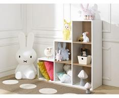 Alfred & Compagnie - BIBLIOTHEQUE 6 CASES ESCALIER BLANC 100x68x35