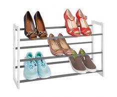 mDesign étagère à chaussure télescopique à 3 niveaux – meuble chaussure en métal extensible à 78,7 cm – étagère chaussures comme alternative compacte à une armoire chaussures – blanc/gris