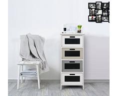 Rebecca Mobili RE4386 Commode Moderne, Meuble de Salle de Bain avec 4 tiroirs, Bois Paulownia MDF, Blanc/Noir/Gris/Beige, Chambre à Coucher, 84,5 x 37 x 27 cm