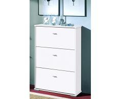 Meuble à chaussures, 3 tiroirs coloris Blanc, L76 x H110.5 x P26 cm ( Livré Monté ) -PEGANE-