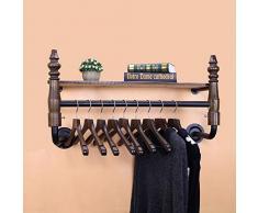 XP Cintres de Porte-Manteaux de Style Industriel, présentoir combiné de Magasin de vêtements, penderie Murale en Fer forgé Vintage, Porte-Manteau, étagère de Rangement, étagères, 60cm, 80cm, 95cm STA