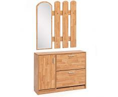 WOHNLING WL5.821 Porte-manteau en bois 90 x 172 x 24 cm – Design à bascule avec porte-manteau – Miroir mural de vestiaire | Miroir de vestiaire avec armoire à chaussures moderne | Armoire multi-usage