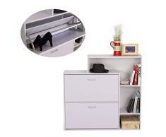Homcom Meuble à Chaussures étagère Rack de Rangement Organisateur Maison 2 tiroirs 3 étagères Meuble Blanc