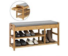 SoBuy FSR47-N Étagère à Chaussures avec tiroirs Latéraux, Banquette Siège pour chausser, Rangement Chaussure en Bambou L90xP30xH45cm