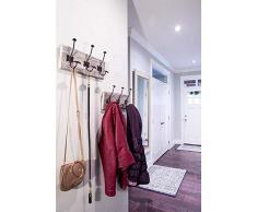 Porte-manteau rustique mural avec 3 crochets robustes - Ensemble de 2 - Porte-manteaux en bois vintage - Porte-manteau rustique pour manteaux, sacs, serviettes et plus - 88.9 x 15.59cm- Blanc rustique