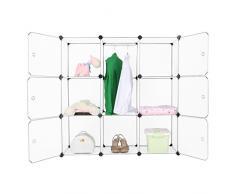 Finether 9-Cube Interverrouillage Storage Modulaire Organisateur Système d'Etagère Closet Armoire Rack avec Portes pour Vêtements Chaussures Jouets Livres Bibelots Stockage Translucide Blanc