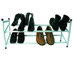MSV 222 Etagère Chaussures 6 à 12 Paires Métal Argent 62 x 36 x 22 cm