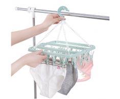 Symboat En Plastique Pliant Vêtements Cintre Serviettes Socks Bras Sous-Vêtements De Séchage Rack Avec 32 Clips Espace Économie Rangement Organisateur Outils