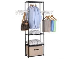 WOLTU SR0027 Penderie à vêtement,Portant à vêtements Porte-Manteau vêtements Rack, 55x28,5x175cm,Noir