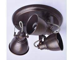 Plafonnier spot de style moderne et vintage avec design simple avec armature et plafonniers en métal couleur marrone, pour bas plafond, ampoules non incl 3 x 40W E14 220 V IP20