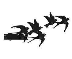 Arti e Mestieri Porte-manteau mural en fer Motif nuage d'hirondelles, Noir
