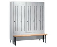 Wolf Vestiaire avec banc frontal, portes en tôle perforée raccourcies - largeur compartiments 300 mm, 5 compartiments - - armoire armoire de vestiaire armoire métallique armoire pour vestiaire armoire universelle armoires armoires de vestiaire armoires