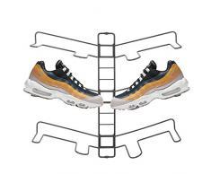 mDesign rangement chaussures – étagère chaussure murale ajustable pour trois paires de baskets, chaussures de sport, etc. – gain despace part rapport à une armoire chaussures – gris