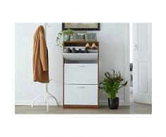 Premier Housewares Armoire à chaussures 3 tiroirs, en bois, Bois dense, Walnut/White, 24x63x118 cm