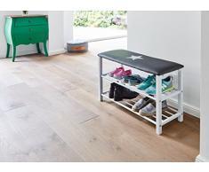 Store. It 670209 Banc à chaussures avec coussin d'assise – Vintage Print, métal/cuir synthétique, GRIS, 78 x 48 x 30 cm
