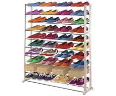 Étagère à chaussures en plastique, coloris : blanc, Dim : H140 x L72 x P25 cm -PEGANE-