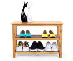 Songmics 3 couches Étagère à chaussures, bambou naturel métal, étagère de rangement banc pour se chausser LBS05N