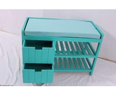 Flurbank étagère à chaussures banc pour enfant avec 2 tiroirs et 2 étagères bleu/turquoise