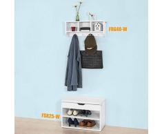 SoBuy® FRG48-W FSR25-W Meuble d'Entrée Ensemble de Meubles de Couloir Portemanteau mural + Banc de Rangement à Chaussures avec Coussin Rembourré