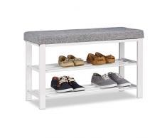 Relaxdays Banc Range-chaussures Coussin rembourré Tissu Étagère à chaussures 2 Niveaux Métal 50x81x32cm gris
