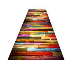 XQKXHZ Tapis Dallée, Patchwork Coloré Bois Grain Corridor Escaliers Long Doux Anti-Slip Couloir Tapis Coureur pour Cuisine Hôtel Salle De Réunion,80x300cm