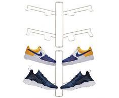 mDesign rangement chaussures (lot de 2) – étagère chaussure murale pour deux paires de baskets, chaussures de sport, etc. – gain despace part rapport à une armoire chaussures – argenté mat