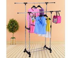 BESTOMZ Roues de roulette à double barre réglable en acier inoxydable vêtements cintre roulant rail de vêtement rack (argent)