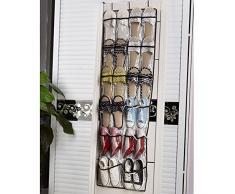 kongka portable 22 poches Transparent Système de rangement pour sac de rangement mural de rangement chaussures de porte étagères (Oxford + PVC en plastique) Argent