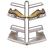 mDesign rangement chaussures - étagère chaussure murale moderne pour quatre paires de baskets, chaussures de sport, etc. - gain d'espace part rapport à une armoire chaussures - couleur bronze