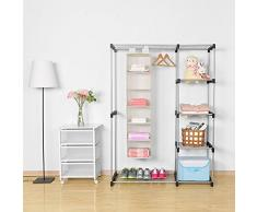Umi. Essentials Rack à Pull Organiseur de vêtement, 6 étagères à suspendre Armoire Meuble de rangement,29.2 (cm) W x 30.5 (cm) L x129.5 (cm) H, beige