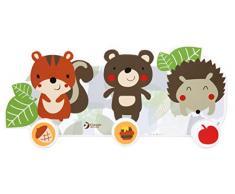 Classic Porte-manteau mural pour enfants Motif animaux de la forêt avec hérisson, écureuil et ours avec 3 crochets