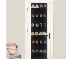 Chaussures à suspendre Organiseur 24 Poche de cintre étagère murale Armoire de rangement de porte free size Noir