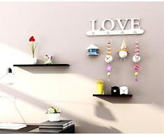 Après porte Porte-manteau mural patères MDF / panneaux de fibres cintre amour 60CM cintres de mur de la chambre , white