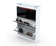 Meuble à chaussures Space, Corps en Blanc mat / Façades en Noir métallique haute brillance avec un decor en Mûre haute brillance